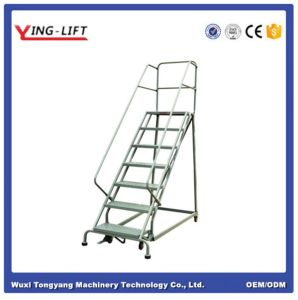 High Quality Industrial Steel Rolling Ladders with Five Steps pictures & photos