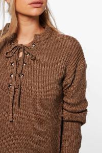 Women Lace up Eyelet Ribbed Pullover Sweater pictures & photos