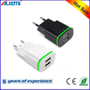 Universal EU/Us Dual USB Travel Charger for Mobile Phone