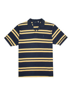 Quality Cotton Pique Embroidered Striped Man′s Polo Shirt of V-Neck