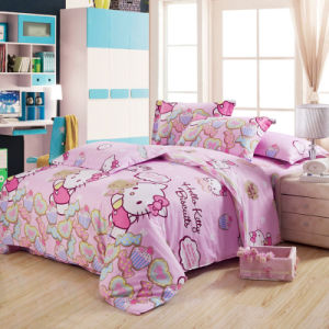 Textile 100% Cotton High Quality Bedding Set for Home/Hotel Comforter Duvet Cover Bedding Set (HELLO KITTY) pictures & photos