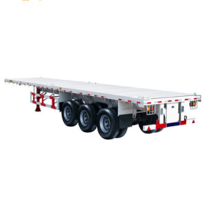 Lower Price 2 Axles 40ft Container Flat Bed Semi Trailer pictures & photos