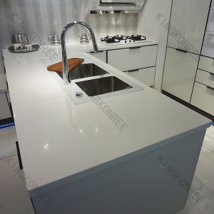 China prefab man made white quartz stone kitchen for Man made quartz countertop