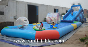 Inflatable Zorb Ramp with Big Water Pool/ Commercial Inflatable Big Swimming Pool with Zorb Ramp