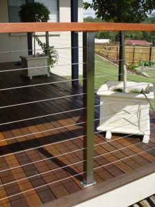 Steel Rope Stair Railing with Woodern Handrails