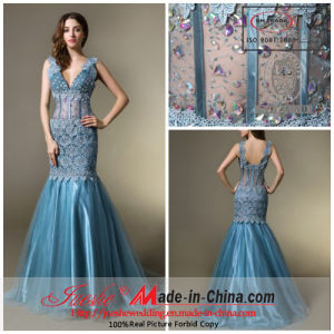 Mermaid V-Neck Wide Strap Sweep Train Satin and Tulle Evening Dress with Beading and Lace 7757)