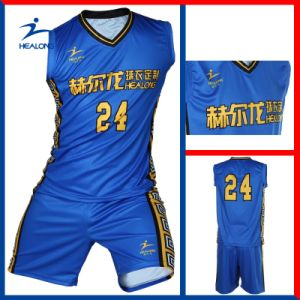Blue and Yellow Full Sublimation Design Basketball Uniform pictures & photos