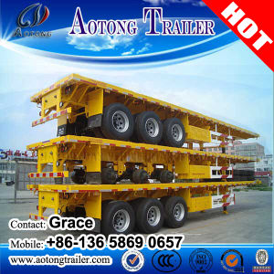 Flatbed 20FT 40FT 45FT 53FT Flatbed Container Semi Truck Trailer with Container Lock pictures & photos