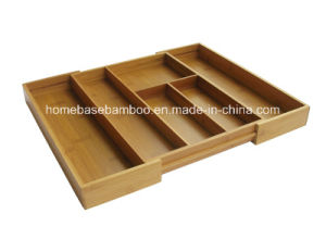 Eco-Friendly Expandable Bamboo Flatware Cutlery Tray Organizers Storage Box (HB-104) pictures & photos