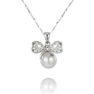 Pearl Necklace with 925 Sterling Silver Chain (YP0007)