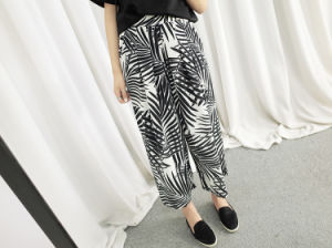 Fashion Style Palm Tree Varsity Chiffon Wide Leg Pants pictures & photos