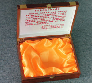 Health Product Packing Wooden Box with Golden Insert pictures & photos