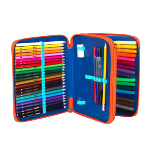 Polyester Colorful Fashion 2 Zipper Pencil Case
