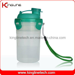 300ml Plastic Protein Shaker Bottle with Filter and Lanyard (KL-7401) pictures & photos