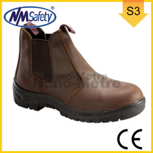 Nmsafety Brown Cow Split Smooth Leather Work Safety Boots pictures & photos