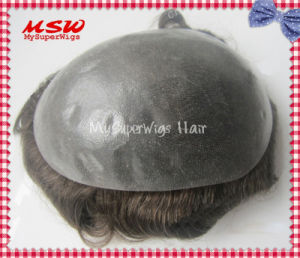 V-Looping Hair Clear Thin Poly Base Men′s Hairpiece pictures & photos