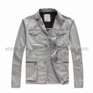 Gray Linen Cotton Men′s Casual Blazer with Sack Cargo (GDJ1359) pictures & photos