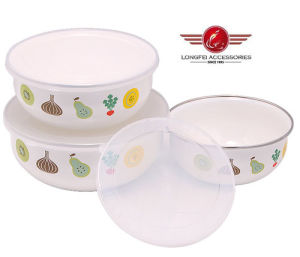 New Style Beautiful 3PCS Enamel Salad Bowl with Lids (211D) pictures & photos