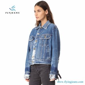 Fashion Worn Loose Jacket for Women and Ladies with Long Sleeves and Buckled Leather Straps pictures & photos