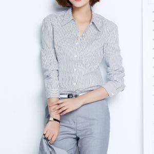 Ladies Women Formal Shirt Designs Cotton Strip Formal Shirt pictures & photos