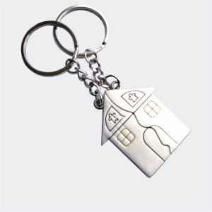 Promotion Gift Set Metal Pairs House Shaped Couple Keyring (F1246) pictures & photos