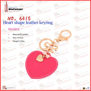 Heart Shaped Leather Metal Key Ring (6415) pictures & photos
