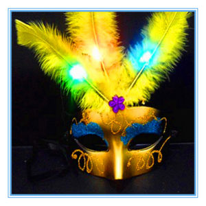 Halloween Fluffy Fiber LED Feather Mask Children′s Toys pictures & photos