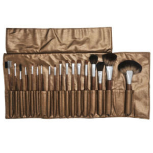 18PCS Professional Makeup Brush Set with Golden-Brown Pouch pictures & photos