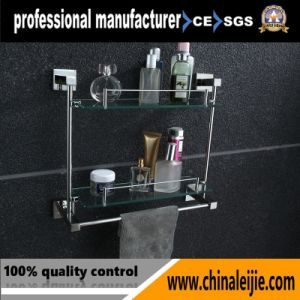 Modern Square Style Stainless Steel 304 Sanitary Ware Double Glass Shelf pictures & photos