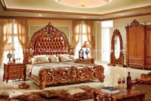 Solid Wood Carving Luxurious Classic Leather Bed (TH-506)