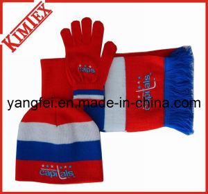 100% Acrylic Winter Warm Knitted Sets pictures & photos