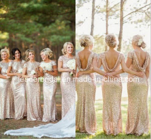 Short Sleeves Sequined Bridesmaid Dress Cheap Formal Prom Evening Dresses B15319 pictures & photos