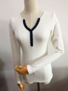 Women Long Sleeve V-Neck Polo Shirt Fashion Garment pictures & photos