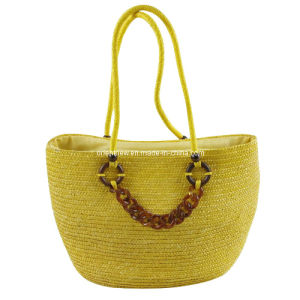 Yellow Straw Beach Bag, Large Tote