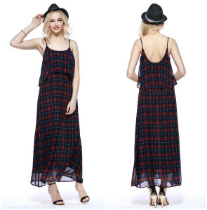 Classic Plaid Low Round Collar Backless Silp Dress Wholesale China pictures & photos