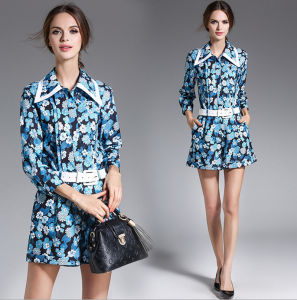 Spring Latest Fashion Printed High Quality Women′s Two-Piece Long Sleeves Shirt and Short Pants pictures & photos