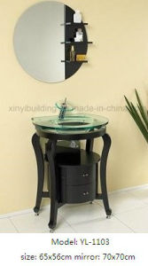 Sanitary Ware Glass Wash Basin with Wooden Vanity pictures & photos