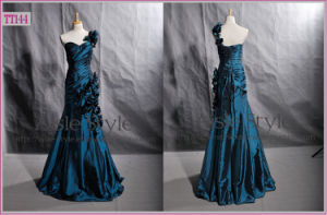 Hand-Made Flower Adorned One-Shoulder Taffeta Mermaid Formal Evening Dress (TT144)