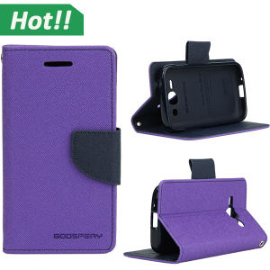 for Samsung Galaxy Ace 3 Dual Color Deluxe Wallet Leather Flip TPU Stand Case