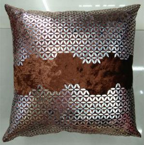 Metallic/Flock Printed Decorative Pillow Metallic Print Cushion (XPL-46) pictures & photos