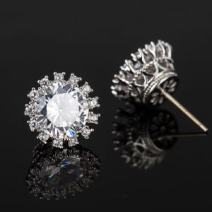 Fashion Crystal CZ Flower Rhodium-Plated Women Imitation Jewelry Earrings pictures & photos