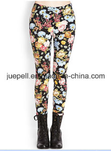 Floral Print Leggings with Elasticized Waist pictures & photos