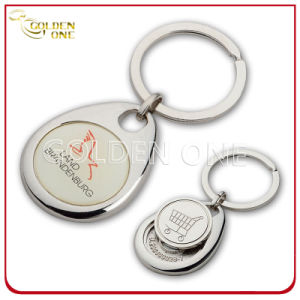 Custom Printed Cheap Metal Trolley Coin Keyring pictures & photos
