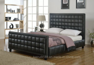 PU Black Adult Modern Bedroom Furniture Soft Bunk Hotel Furniture pictures & photos