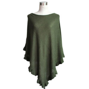 Lady Fashion Acrylic Knitted Ruffle Poncho (YKY4107-1) pictures & photos