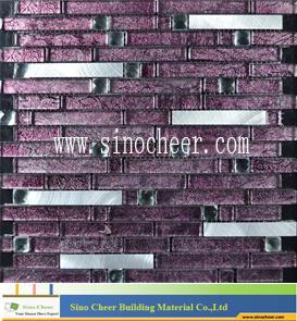 Strip Design Aluminum Mixed Crystal Glass Mosaic Tile pictures & photos