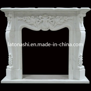 Indoor & Outdoor Decorative White Marble Fireplace, Natural Stone Fireplace Mantel pictures & photos