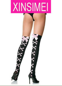 Black with Pink Decorate Sexy Stocking