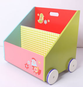 Kids Furniture Wooden Book Container Storage Box with Wheels pictures & photos