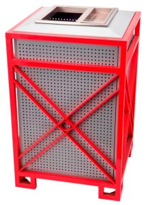 High Quality Outdoor Metal Red and White Trash Bin pictures & photos